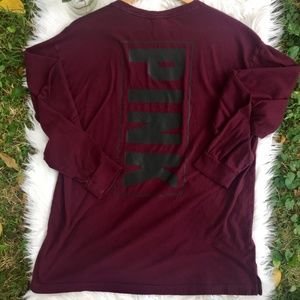 VS PINK Maroon/Black Long Sleeve Tee w/Pocket